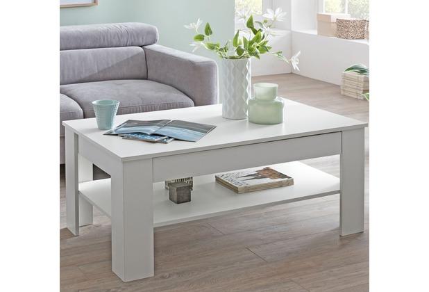 Wohnling Design Couchtisch CONNIE 110x48x65 cm mit Stauraum & Ablage Holz weiß, Sofatisch eckig, Kaffeetisch modern, Loungetisch groß & hoch, Wohnzimmertisch rechteckig weiß