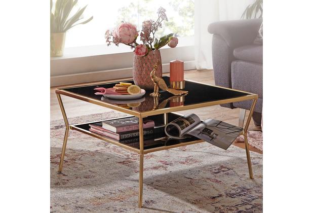 Wohnling Design Couchtisch Glas Schwarz 70 x 70 cm 2 Ebenen Gold Metallgestell, Wohnzimmertisch, Beistelltisch, Glastisch quadratisch schwarz