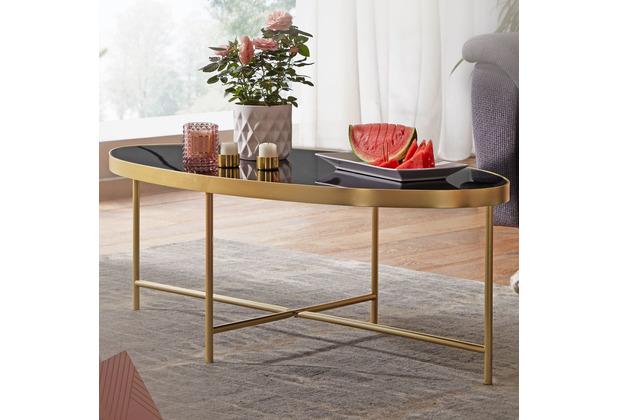 Wohnling Design Couchtisch 110 x 56 cm Schwarz/Gold Glastisch oval, mit Metallgestell