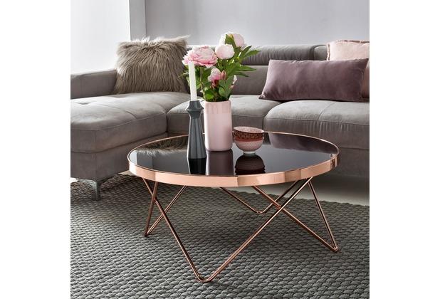 Wohnling Design Couchtisch ø 82 cm Schwarz/Kupfer, Glastisch verspiegelt rund