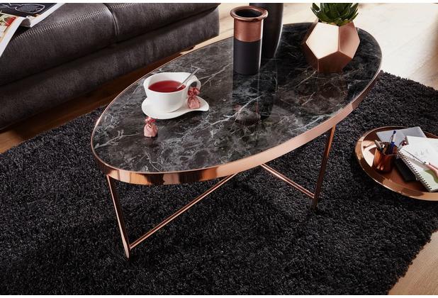 Wohnling Design Couchtisch Marmor Optik Schwarz - Oval 110 x 56 cm mit Kupfer Metallgestell