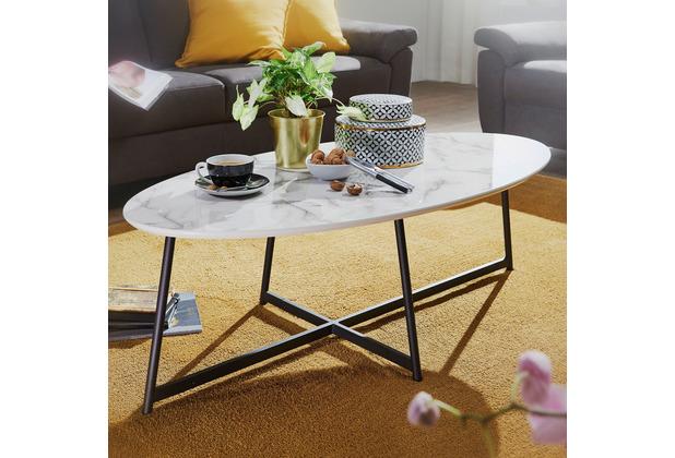Wohnling Design Couchtisch 120x60 cm mit Marmor Optik Weiß, oval, mit Metallgestell in schwarz