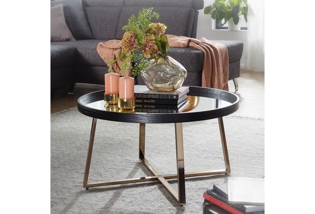 Wohnling Design Couchtisch Ø 78 cm Dunkel-Gold, Glastisch verspiegelt rund, mit Metallgestell