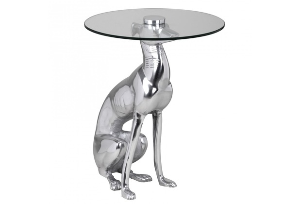 Wohnling Design Deko Beistelltisch Figur DOG aus Aluminium Farbe Silber