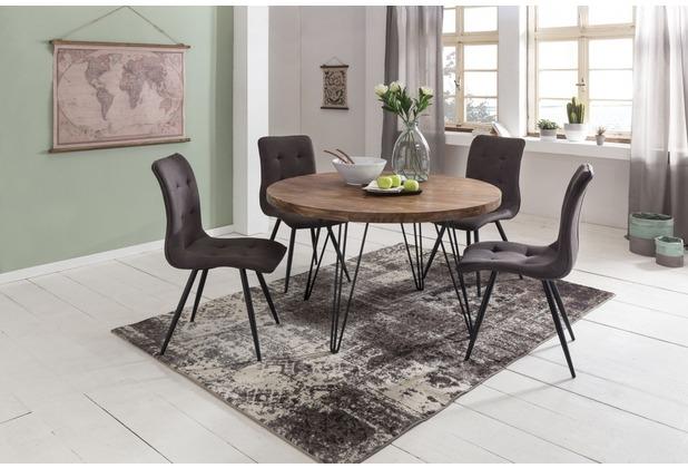 Wohnling Design Esszimmertisch BAGLI Ø 120 x 78 cm Sheesham Massiv-Holz braun, für 4 Personen