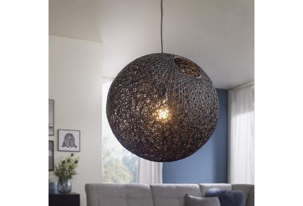Wohnling Design Hängelampe RATA Ø40 cm schwarz Deckenlampe mit Rattan-Schirm, Moderne Hängelampe Loft, Pendellampe Japan Style, Deckenleuchte E27 IP20 Schwarz