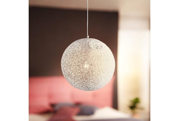 Wohnling Design Hängelampe RATA Ø40 cm weiß Deckenlampe mit Rattan-Schirm, Moderne Hängelampe Loft, Pendellampe Japan Style, Deckenleuchte E27 IP20 Weiß
