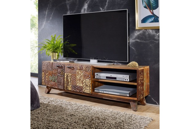 Wohnling Design HiFi Lowboard CARVED Massivholz Vintage TV Kommode ...