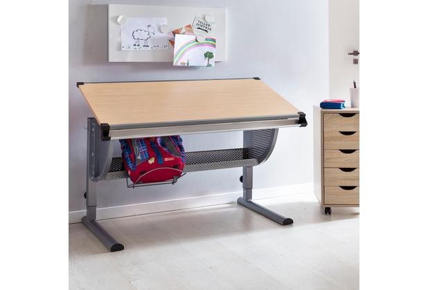 Wohnling Design Kinderschreibtisch MAXI Holz 120 x 60 cm Buche, neigungs-verstellbar, höhenverstellbar