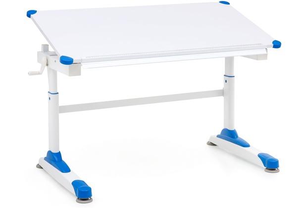 Wohnling Design Kinderschreibtisch WL5.760 Holz 119 x 67 cm Blau/Weiß Maltisch, Neigbarer Schülerschreibtisch