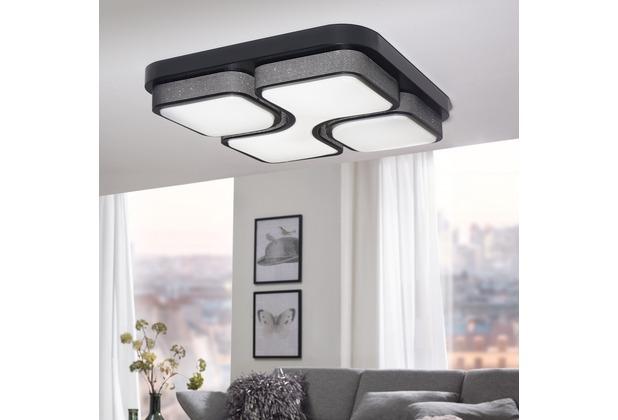 Wohnling Design LED-Deckenleuchte GEOMETRIC Deckenlampe schwarz 32W A+ 53x9x53 cm, Design Lampe 2720 Lumen warmweiß, Leuchte Metall mit 3 Lichtfeldern IP20 Schwarz