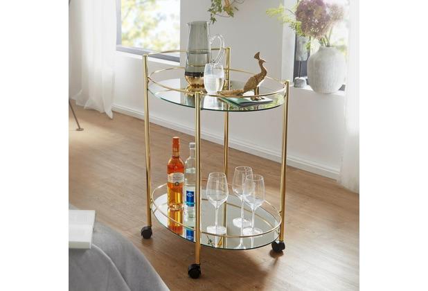 Wohnling Design Servierwagen 67x79 cm Mobile Mini Bar weiß/gold, mit Glasplatte aus Milchglas