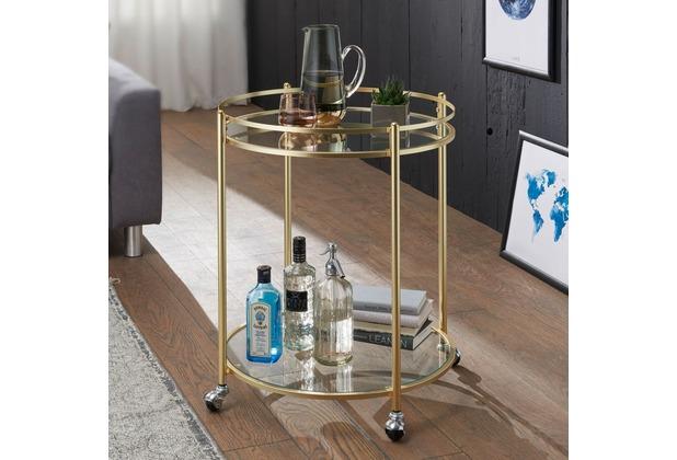 Wohnling Design Servierwagen JAMES Gold Ø 57 cm Beistelltisch, Teewagen Metall mit Rollen