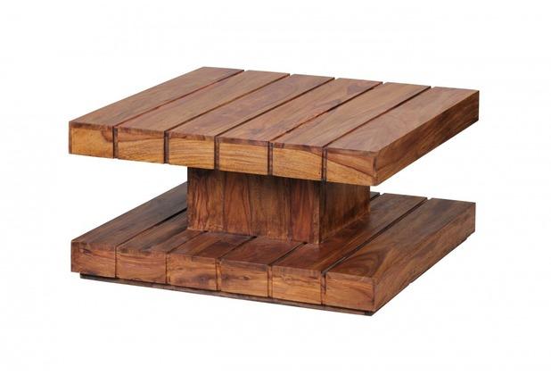 Wohnling Design Sheesham Massivholz Couchtisch 80 x 80 x 40 cm