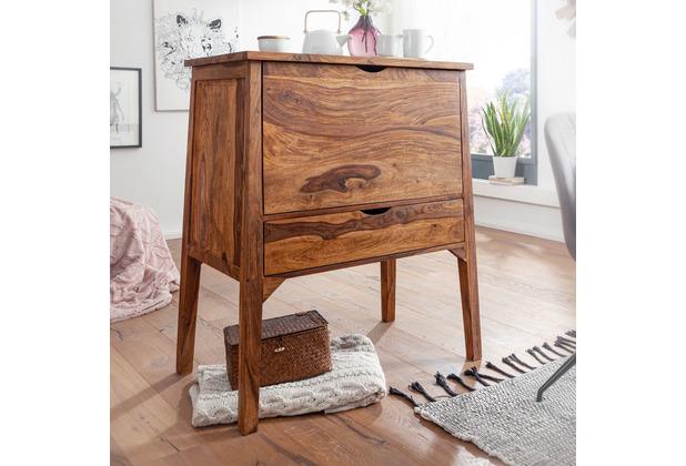 Wohnling Design Sideboard 90 x 107 x 56 cm Sheesham Massivholz, 1 Schublade 2 Klapptüren braun