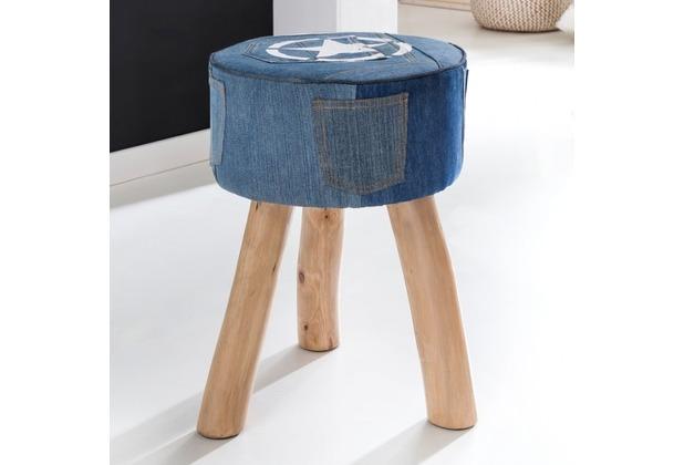 Wohnling Design Sitzhocker DENIM Stoff Blau 35 x 35 x 50 cm   Fußhocker Stoffhocker   Hocker mit Stauraum Beistellhocker