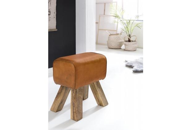 Wohnling Design Turnbock Sitzhocker 40 x 30 x 47 cm, Echtleder Braun, Fußhocker