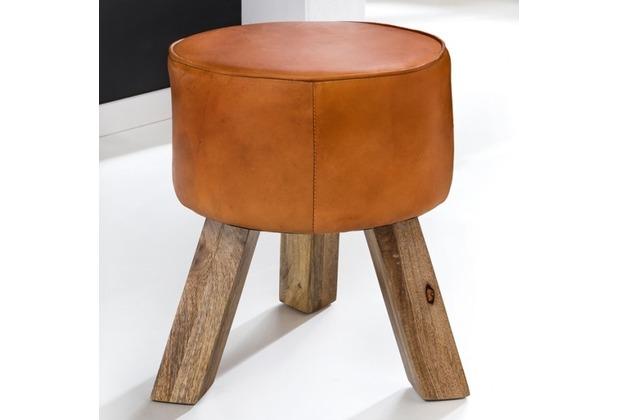 Wohnling Design Turnbock Sitzhocker Echtleder Braun 37 x 37 x 45 cm | Turnhocker mit Holz-Beinen Lederhocker | Hocker Turnbank