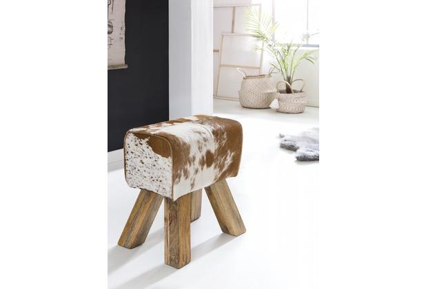Wohnling Design Turnbock Sitzhocker Ziegenfell Braun / Weiß 40 x 30 x 47 cm | Turnhocker Hocker Lederhocker | Beistellhocker Echtleder Fußhocker