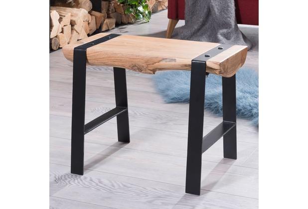 Wohnling Desing Sitzhocker GAYA 60 x 45 x 28 cm Vollholz Akazie, Holzhocker mit Metallbeinen