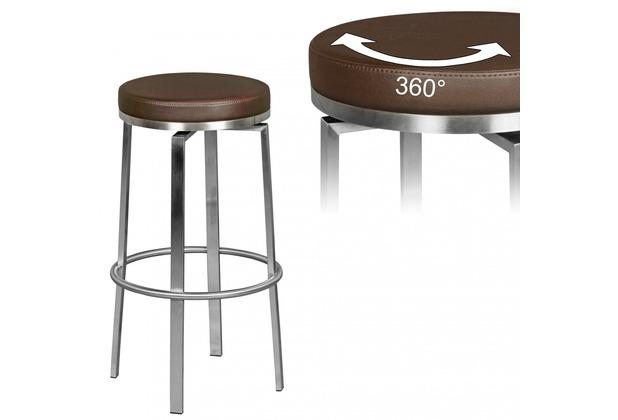 Wohnling Durable M8 | Barhocker Edelstahl braun | Barstuhl modern | Tresenhocker mit Beinen | Design Hocker drehbar