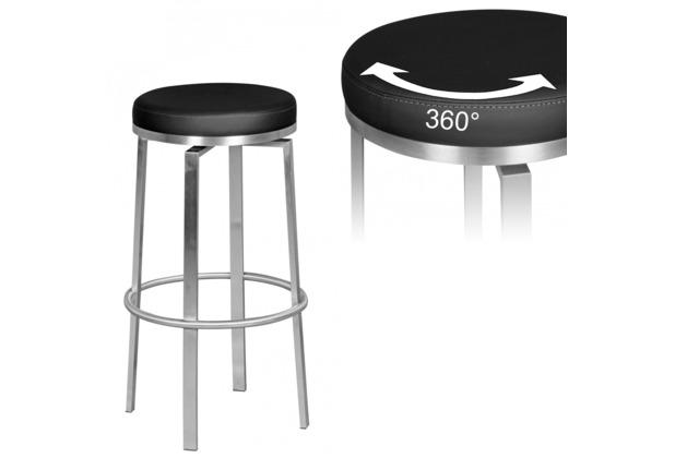 Wohnling Durable M8 | Barhocker Edelstahl schwarz | Barstuhl modern | Tresenhocker mit Beinen | Design Hocker drehbar