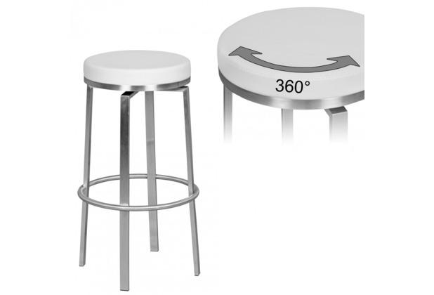 Wohnling Durable M8 Barhocker Edelstahl weiß - Barstuhl modern - Tresenhocker mit Beinen - Design Hocker drehbar
