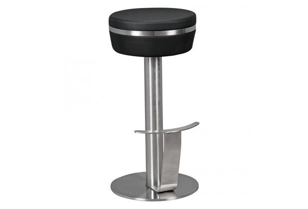 Wohnling Durable M9 Barhocker aus Edelstahl mit Kunstleder-Sitzfläche in Schwarz Design Tresenhocker standfest