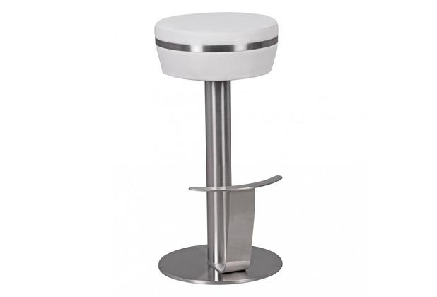 Wohnling Durable M9 Barhocker aus Edelstahl mit Kunstleder-Sitzfläche in Weiß Design Tresenhocker standfest