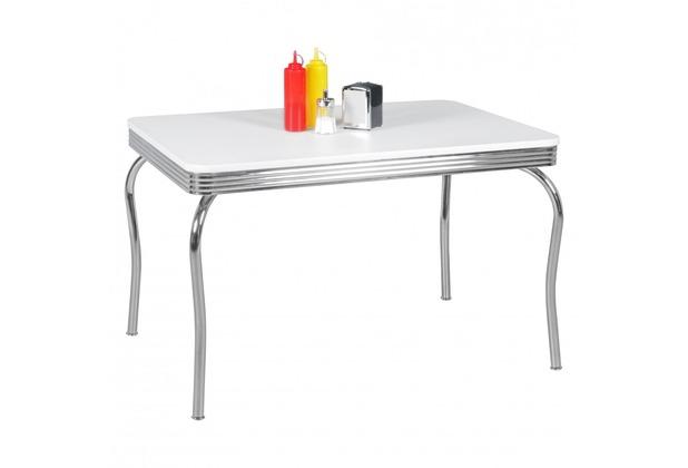 Wohnling Esstisch ELVIS 120 cm American Diner MDF Holz & Alu Esszimmertisch Retro USA, 4 Beine