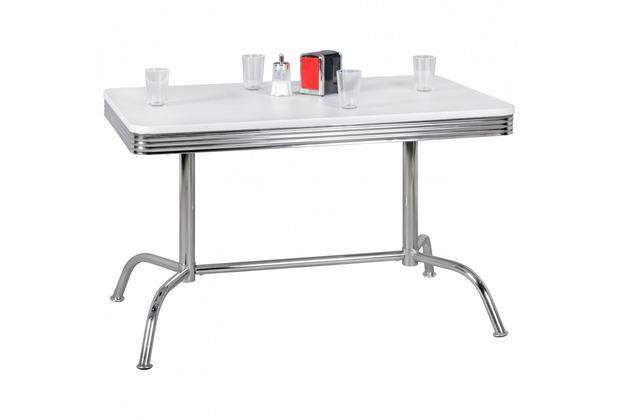 Wohnling Esstisch ELVIS 120 cm American Diner MDF Holz & Alu Esszimmertisch Retro USA, 2 Beine