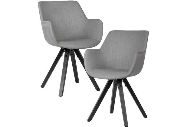 Wohnling Esszimmerstuhl 2er Set Stoff Küchenstühle, Hellgrau mit Armlehnen mit schwarzen Beinen