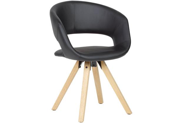 Wohnling Esszimmerstuhl Schwarz Kunstleder, mit Lehne, mit Holzfüßen, Maximalbelastbarkeit 110 kg