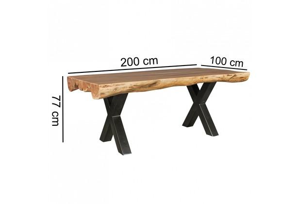 Wohnling Esszimmertisch 200 x 100 x 77 cm Akazie Landhaus-Stil Voll-Holz | Design Esstisch rechteckig | Tisch für Esszimmer Baumstamm | Küchentisch 8 Personen