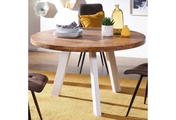 Wohnling Esszimmertisch WL5.652 130x130x77 cm Sheesham Massivholztisch, rund, mit Metallgestell in weiß