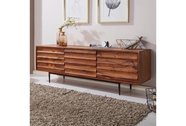 Wohnling HiFi Lowboard WL5.636 Sheesham Massivholz Landhaus TV Kommode 147x50x38cm, braun