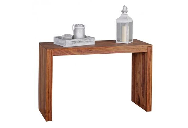Wohnling Konsolentisch Massivholz Sheesham Konsole Schreibtisch 115 x 40 cm Landhaus-Stil Arbeits-tisch Naturholz modern