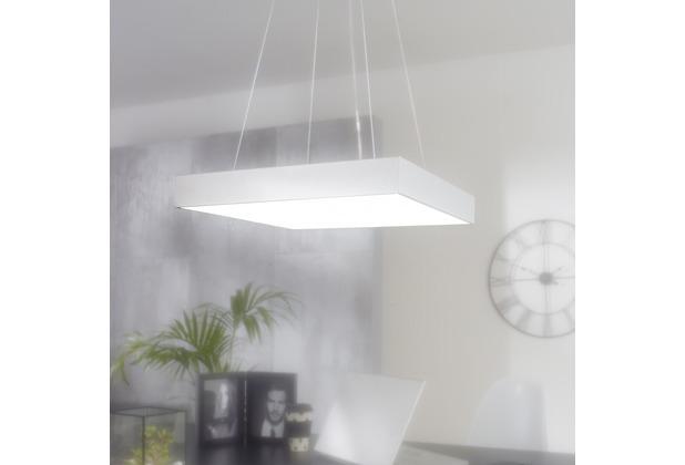 Wohnling LED-Büroleuchte SQUARE Arbeitspendelleuchte 64W silber 5440 Lumen, Pendelleuchte EEK A+, Design Arbeitsplatz Hängelampe kaltweiß, Office Leuchte 6500 Kelvin Silber