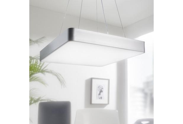 Wohnling LED-Büroleuchte SQUARE Arbeitspendelleuchte 64W silber 5440 Lumen, Pendelleuchte EEK A+, Design Arbeitsplatz Hängelampe kaltweiß, Office Leuchte mit runden Ecken Silber