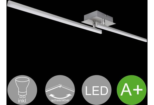 Wohnling LED-Deckenlampe AMBAR 2-flammige Wohnzimmerlampe in Stäbchen-Design 90 cm A+, Schlafzimmerleuchte 16 W, Leuchte Warmweiß 3000K, Lampe 1100 Lumen, Deckenleuchte IP20 silber