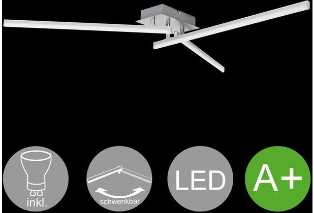 Wohnling LED-Deckenlampe AMBAR 3-flammige Wohnzimmerlampe in Stäbchen-Design 90 cm A+, Schlafzimmerleuchte 15 W, Leuchte Warmweiß 3000K, Lampe 1100 Lumen, Deckenleuchte IP20 silber