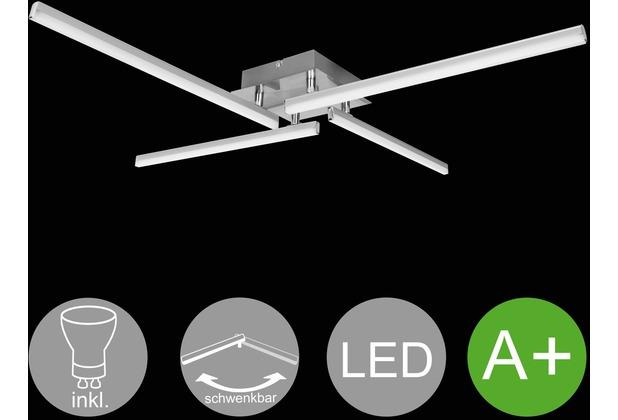 Wohnling LED-Deckenlampe AMBAR 4-flammige Wohnzimmerlampe in Stäbchen-Design 80 cm A+, Schlafzimmerleuchte 24 W, Leuchte Warmweiß 3000K, Lampe 1700 Lumen, Deckenleuchte IP20 silber
