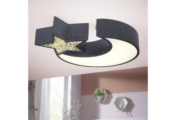 Wohnling LED-Deckenleuchte NIGHTSKY Metall EEK A+ Deckenlampe Mond & Stern schwarz, Design Kinderzimmer-Lampe 30 Watt 2550 Lumen warmweiß, Schlafzimmerlampe 55 x 50 cm Schwarz