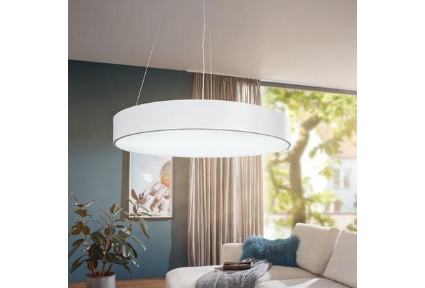 Wohnling LED-Deckenleuchte ROUND rund matt weiß Metall EEK A+ Büro-Deckenlampe 92 Watt Ø 75 cm, Design Arbeitsplatz Hängelampe 7820 Lumen kaltweiß ohne Schirm, Office Pendellampe Weiß
