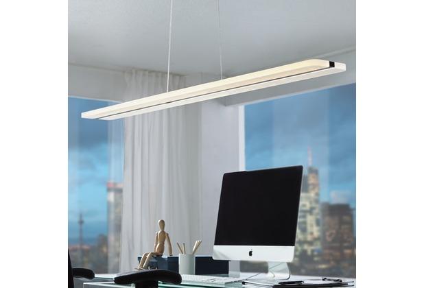 Wohnling LED-Deckenleuchte STRIPE schwarz Metall EEK A+ Esszimmer-Deckenlampe 36 Watt 100 x 104 x 12 cm, Design Hängelampe 3060 Lumen warmweiß ohne Schirm, Pendellampe eckig IP20 Weiß