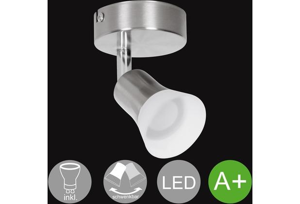 Wohnling LED-Spot 1-flammig CLARA Deckenstrahler Dimmbar Lampe A+ Warmweiß 4 Watt, Wohnzimmerlampe Strahler drehbar 3000K, Deckenleuchte modern Silber 360 Lumen IP20, Design Deckenlampe schwenkbar silber
