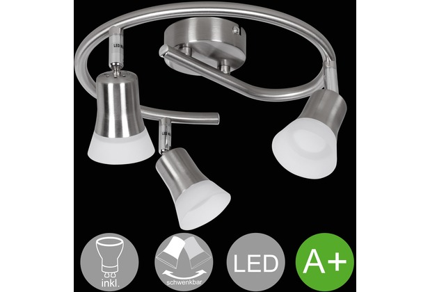 Wohnling LED-Spot 3-flammig CLARA Deckenstrahler Dimmbar Lampe A+ Warmweiß 12 Watt, Wohnzimmerlampe Drehbar 3000K, Leuchte Modern Silber 3x360 Lumen IP20 silber