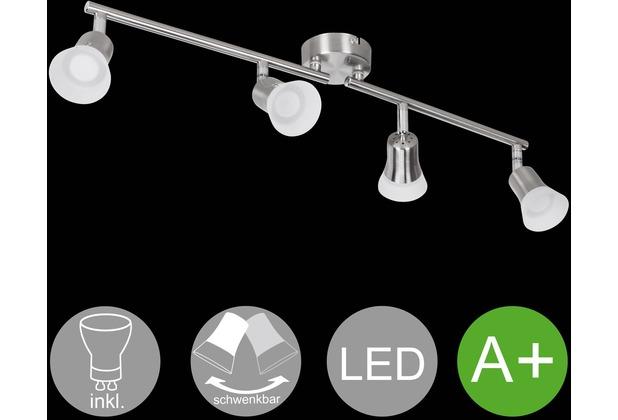 Wohnling LED-Spot 4-flammig CLARA Deckenstrahler Lampe Dimmbar A+ Warmweiß 16 Watt, Wohnzimmerlampe Strahler drehbar 3000K, Deckenleuchte modern Silber 4x360 Lumen IP20, Design Deckenlampe schwenkbar silber