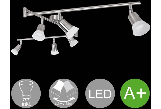 Wohnling LED-Spot 6-flammig CLARA Deckenstrahler Lampe Dimmbar A+ Warmweiß 24 Watt, Wohnzimmerlampe Strahler drehbar 3000K, Deckenleuchte modern Silber 6x360 Lumen IP20, Design Deckenlampe schwenkbar Silber