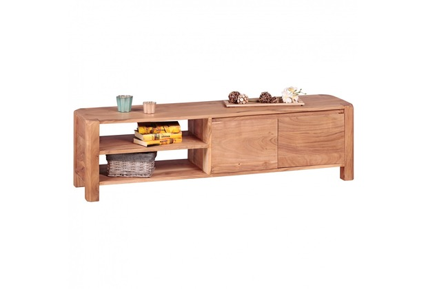 Wohnling Lowboard Massivholz Akazie Kommode 140 cm TV-Board Ablage-Fächer Landhaus-Stil Unterschrank 40 cm